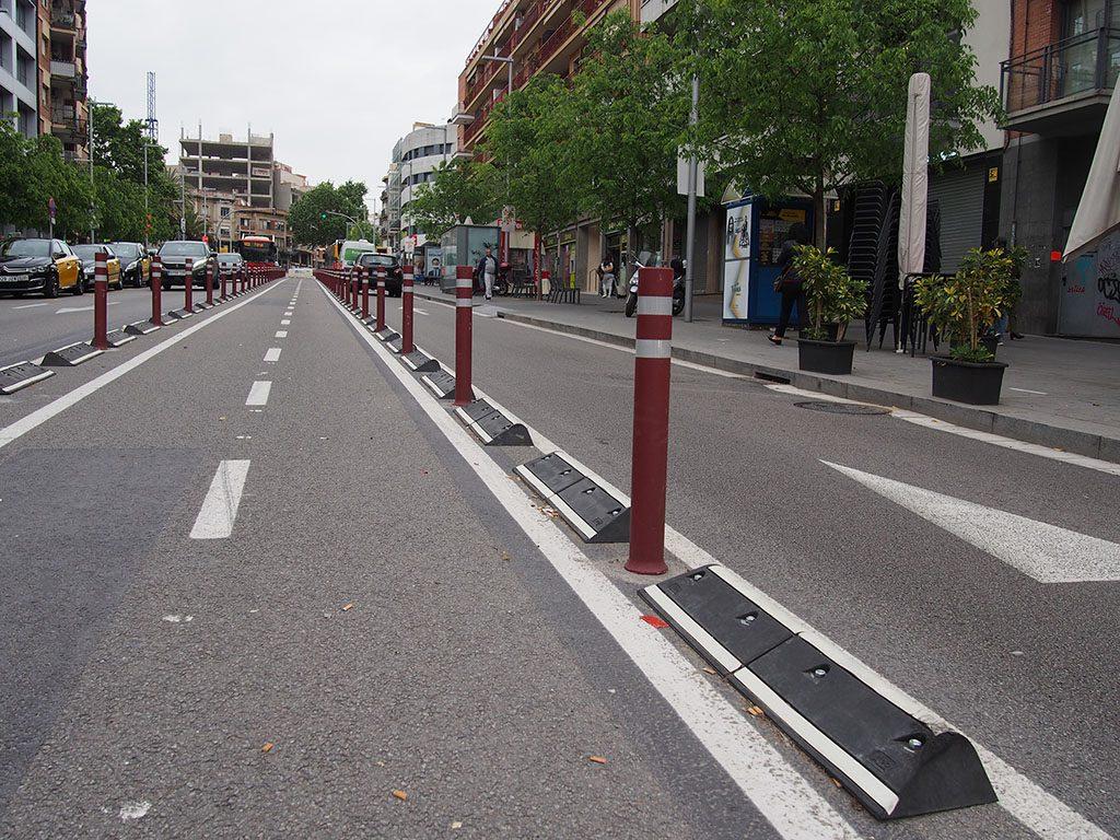Asymmetric Mompe road separators installed